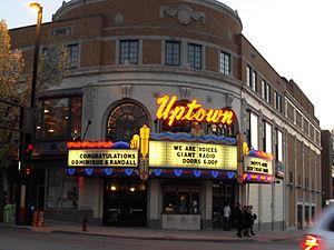 Uptown Theater (Kansas City, Missouri) - Across the street on Broadway Blvd. looking toward the Uptown Theater