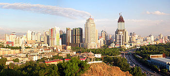 A panoramic view of Urumqi's city center taken from Red Mountain (Hong Shan).