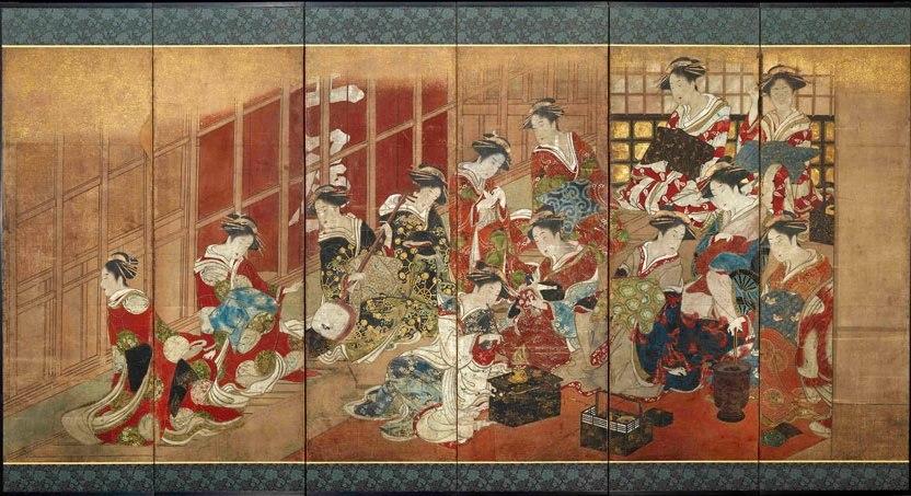 Utagawa Toyoharu (attributed to), Courtesans of the Tamaya House