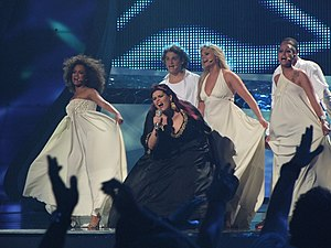 "Portugal in the Eurovision Song Contest 2008 - Vânia Fernandes, along with her backing singers, performing ""Senhora do mar (Negras águas)"" in the final of Eurovision 2008"