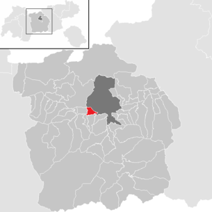 Location of the municipality of Völs (Tyrol) in the Innsbruck-Land district (clickable map)