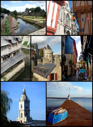 Montage o Vannes, Tap left:View o Ramparts Garden o Vannes an Gaillard Castle Museum, Tap richt:Saint Peters Cathedral, Middle left:Vieux lavoirs, auld washin place, Center:Connetable Touer, Middle right:Intra Muros narrow street, Bottom left:Saint Paterne Church, Bottom richt:Conleau Pier