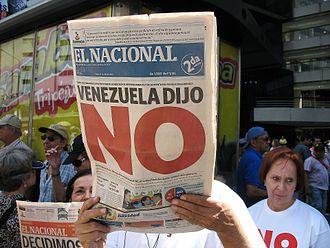 "2007 Venezuelan constitutional referendum - El Nacional headline: ""Venezuela said no""."