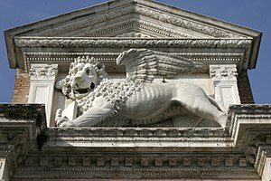 Venetian Arsenal -  Stone Lion above the Portale at the Arsenale
