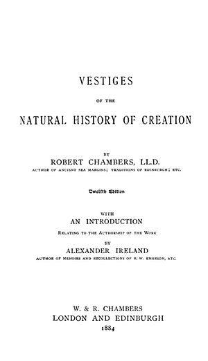 Vestiges of the Natural History of Creation - Title page of the 12th edition of Vestiges of the Natural History of Creation (1884)