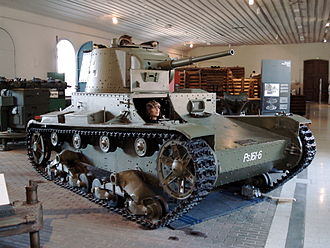 Vickers 6-Ton - A Finnish Vickers 6-Ton rearmed with the Russian 20K gun at the Manege Military Museum, Helsinki, Finland (2006)
