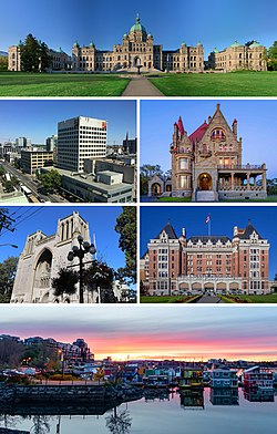 From top to bottom, left to right: the British Columbia Parliament Buildings, Downtown Victoria, Craigdarroch Castle, Christ Church Cathedral, the Empress Hotel and the Float Home Village at Fisherman's Wharf