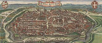 Johann Heinrich Schmelzer - Vienna in 1609, drawn in 1609 by Jacob Hoefnagel and recolored in 1640 by Claes Jansz Visscher