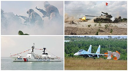 Examples of the Vietnam People's Armed Forces weaponry assets. Clockwise from top right: T-54B tank, Sukhoi Su-27UBK fighter aircraft, Vietnam Coast Guard Hamilton-class cutter, and Vietnam People's Army chemical corps with Type 56. Vietnam People's Armed Forces.jpg