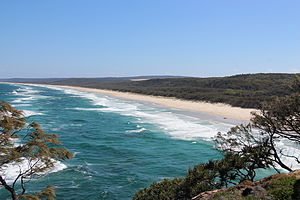 North Stradbroke Island - View south from Point Lookout of Main Beach, 2014