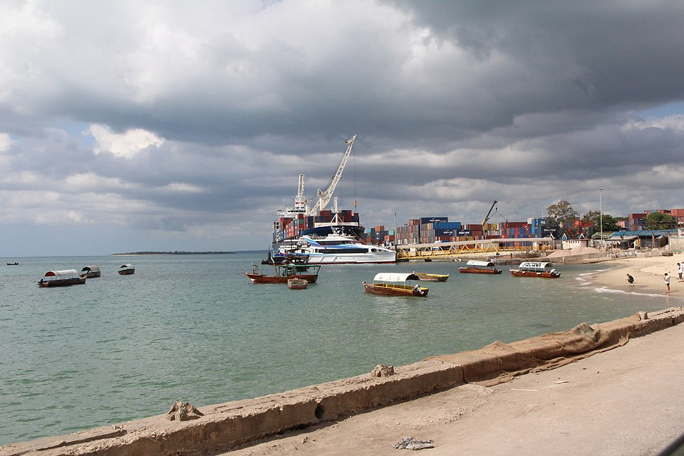 View of ferry docked at Zanzibar Old Town%27s Ferry Terminal