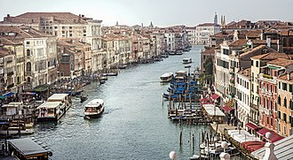 Grand Canal (Venice) - The Grand Canal in Venice, Italy, shot southwards from Rialto Bridge