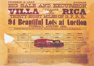 Villa Rica, Georgia - Handbill originally distributed to announce a land sale in Villa Rica, Georgia, c. 1882.