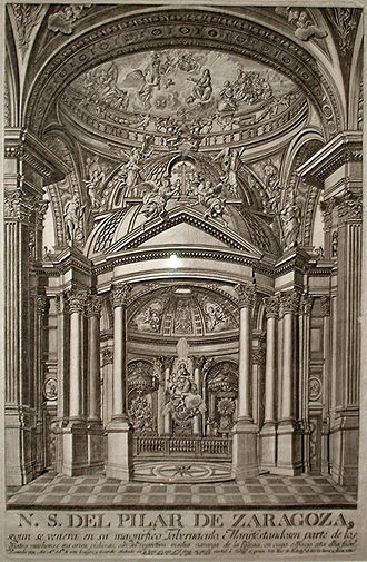 Ventura Rodríguez - Holy chapel of the Basilica of Our Lady of the Pillar in Zaragoza, built in 1750.