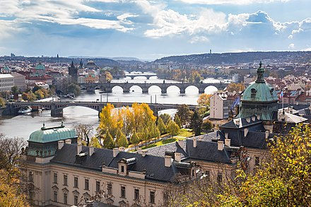 Bridges over the River Vltava, as seen from Letna Vltava river in Prague.jpg