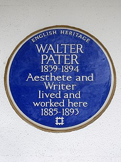Walter pater 1839 1894 aesthete and writer lived and worked here 1885 1893