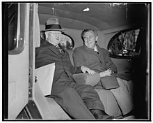 WPA Administrator and ace 'brain truster.' Washington, D.C., Dec. 6. Secretary of Interior Harold Ickes and 'Tommy' Corcoran, the administration's ace - brain truster, pictured leaving the LCCN2016874505.jpg