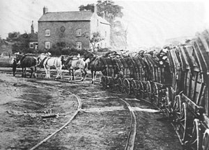 Wagonway - Benjamin Outram's Little Eaton Gangway in July 1908 with the last train of loaded coal wagons arriving.
