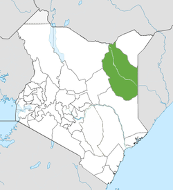 Location of Wajir County (Green)