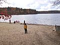 Walden Pond and beach in fall (Massachusetts).jpg
