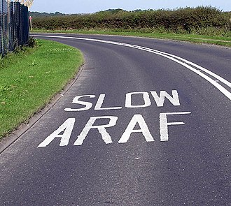 South Wales - Bilingual road markings near Cardiff Airport, Vale of Glamorgan