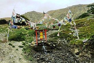 Prayer wheel - Water-powered prayer wheel. Spiti valley, India