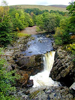 Waterfall on the River Spean near Achluachrach - geograph.org.uk - 476177.jpg