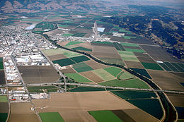 Aerial view of the southern section of Watsonville and the Pajaro River
