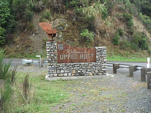 "Upper Hutt - ""Welcome to Upper Hutt"" sign at Te Marua, with a wrought iron depiction of a New Zealand fantail."