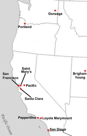 West Coast Conference - Locations of current West Coast Conference full member institutions.