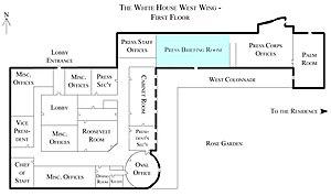 James S. Brady Press Briefing Room - Map of the West Wing with James S. Brady Press Briefing Room in blue