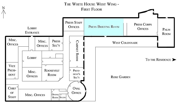 Map of the West Wing with James S. Brady Press Briefing Room in blue White House West Wing - 1st Floor with the Press Briefing Room highlighted.jpg