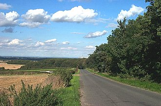 Barnsdale - White Ley Road, looking north east from the footpath entrance to Barnsdale Wood