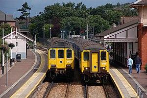 Whitehead railway station - Two NIR Class 450 trains at Whitehead.