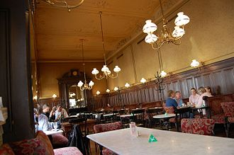"A Dangerous Method - Interior of Café Sperl where a meeting between Jung and Freud was filmed. David Cronenberg said of the shoot, ""We almost had to change nothing to make it feel like 1907."""