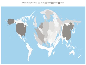 A cartogram of Wikidata usage across more than 800 Wikimedia projects