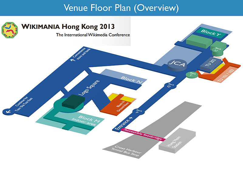 Overview Map of Venue of Wikimania 2013 in PolyU, Hong Kong