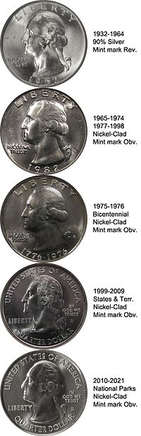 The obverses of the Washington quarter, originally as described in the Flanagan's design section, and with the modifications discussed in the Production section.