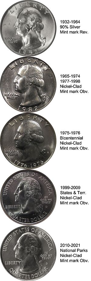 Quarter (United States coin) - The five Washington quarter obverses: as a silver coin, a clad one, the Bicentennial version, the version struck from 1999 to 2009, and the present version struck since 2010