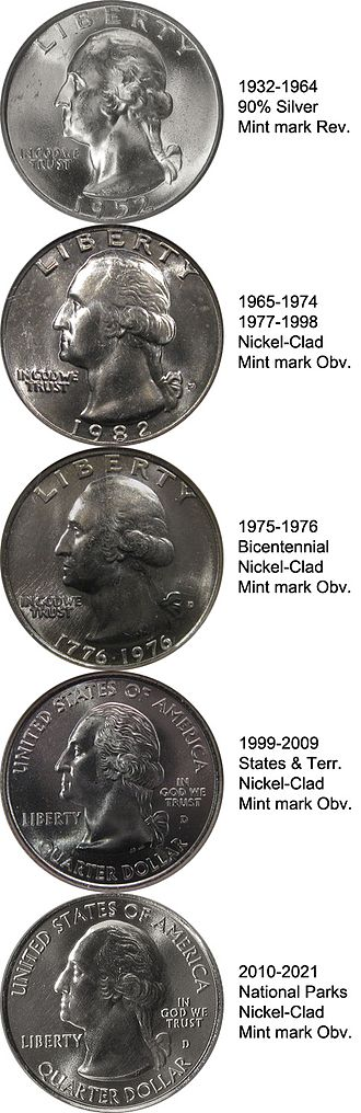 Washington quarter - The five Washington quarter obverses: as a silver version, a clad version, the Bicentennial version, the version struck from 1999 to 2009, and the present version struck since 2010.