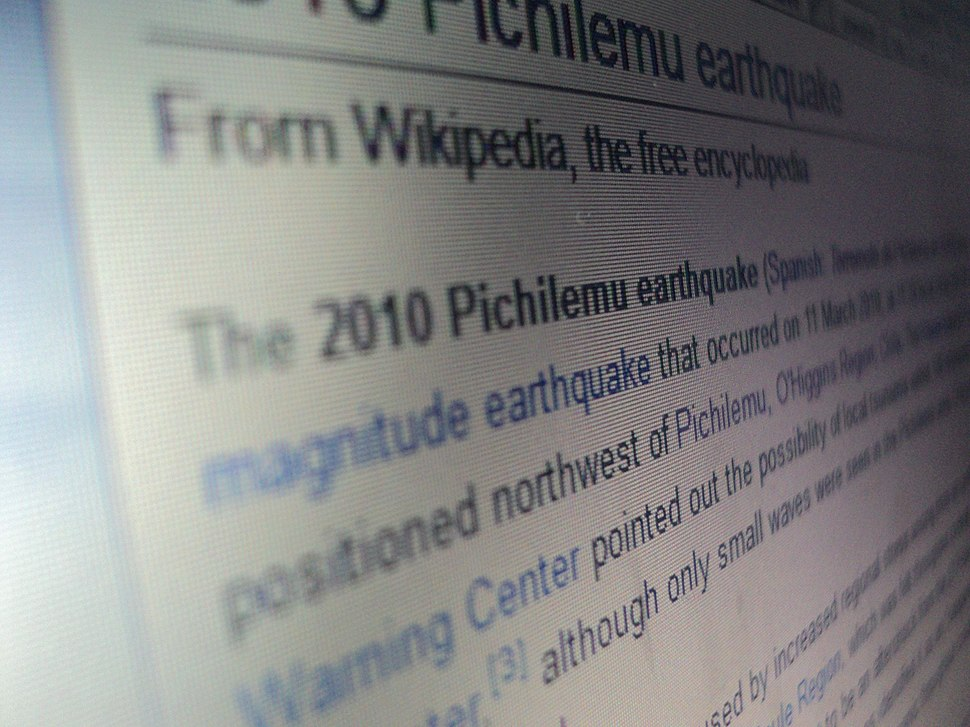 Wikipedia article on Pichilemu earthquake, camera perspective