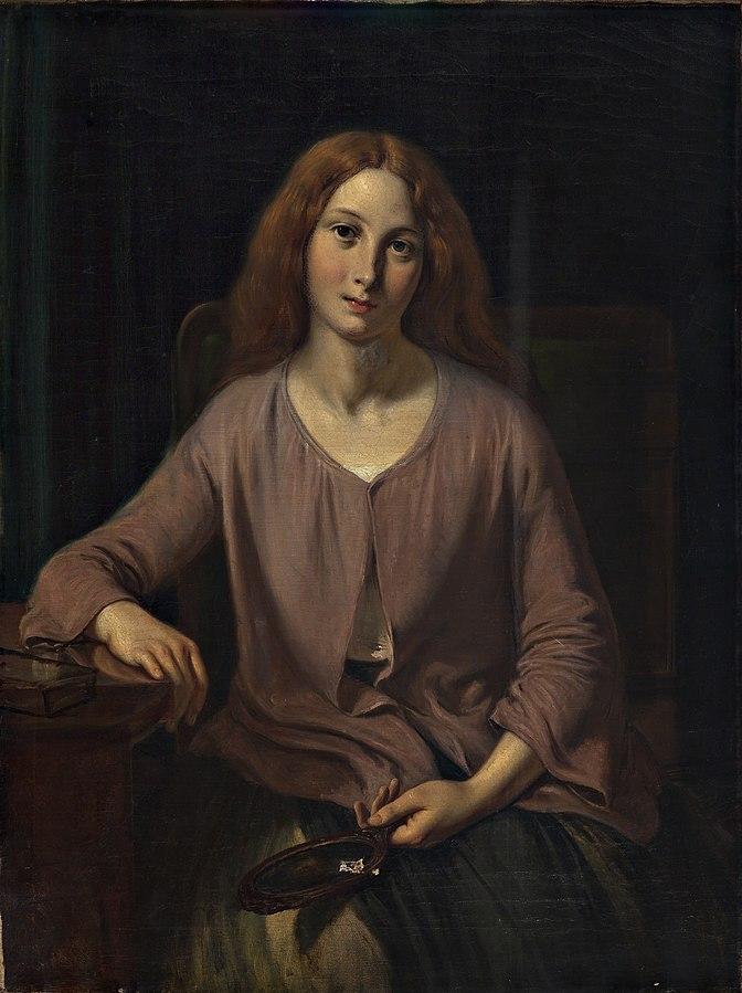 Venetian woman in the restroom