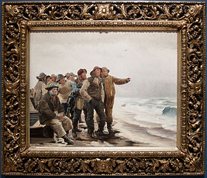 Will He Round the Point? - The painting on the wall of the Skagens Museum, with frame