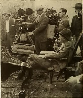 "William C. deMille - De Mille directing a scene using a ""Magna Vox"" voice amplification device"