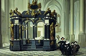 Nieuwe Kerk (Delft) - Family in the Nieuwe Kerk with the monument of Willem the Silent, by Dirk van Delen, 1645