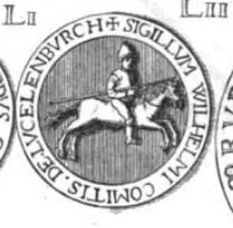 William, Count of Luxembourg - Seal of William, Count of Luxembourg. The Latin inscription on the border of the seal reads: SIGILLVM WILHELMI COMITIS DE LVCELENBVRCH