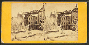 School Street - Image: Winter view of Franklin statue and old city hall, Boston, by Soule, John P., 1827 1904