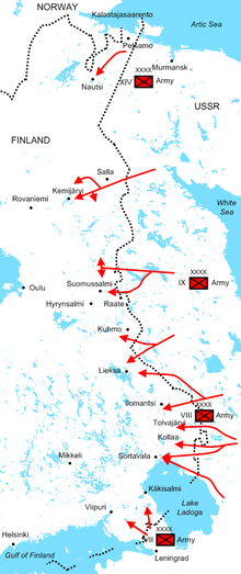 Diagram of Soviet offensives at the start of the war illustrating the positions of the four Soviet armies and their attack routes. The Red Army invaded dozens of kilometres deep into Finland along the 1,340 kilometre border during the first month of the war.