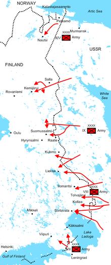 Diagrama de las ofensivas soviéticas al comienzo de la guerra que ilustra las posiciones de los cuatro ejércitos soviéticos y sus rutas de ataque.  El Ejército Rojo invadió decenas de kilómetros de profundidad en Finlandia a lo largo de la frontera de 1.340 kilómetros durante el primer mes de la guerra.