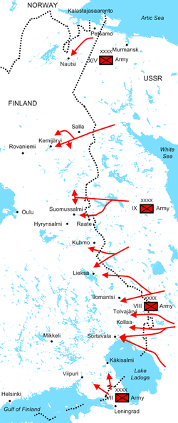Diagram of Soviet assaults illustrating the positions of the Soviet armies and their offensive routes. The Red Army invaded dozens of kilometers deep Finland during the first month of the war.